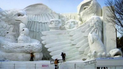 Image: Giant snow sculpture of eagles at Sapporo Snow Festival