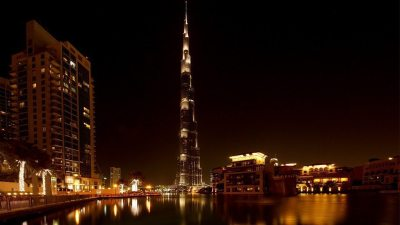 Image: The night skyline and tallest building in the world in Dubai