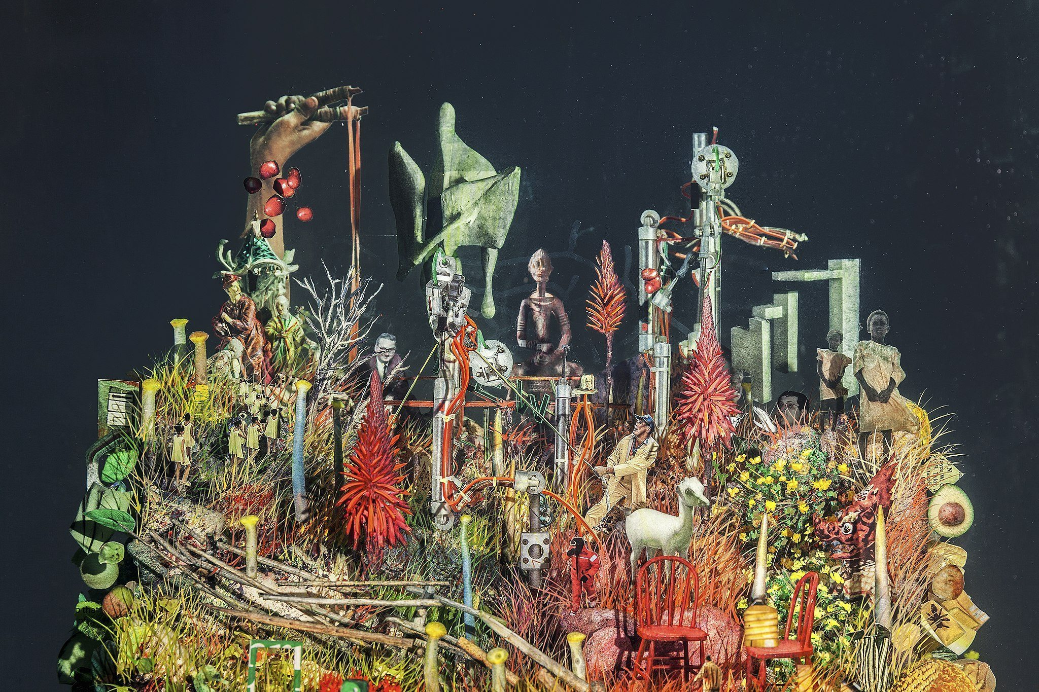 Image: Close up of Dustin Yellin's collage sculpture Psychogeography 66