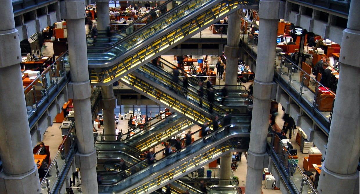 Image: the numerous escalators - up and down - in Loyd's of London