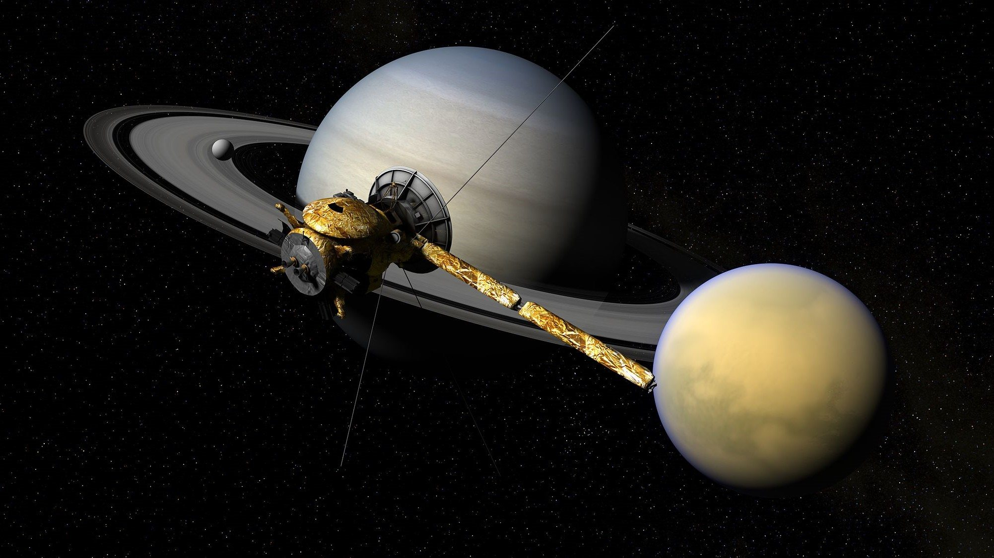 Image: Spacecraft Cassini floating in space in front of Saturn