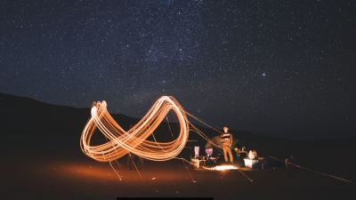 Image: Camping at night under the stars, capturing the movement of light