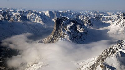 Image: Greenland mountains and misty valley
