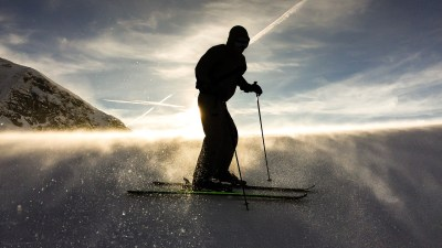 Image: Silhouette of a skier on a mountain