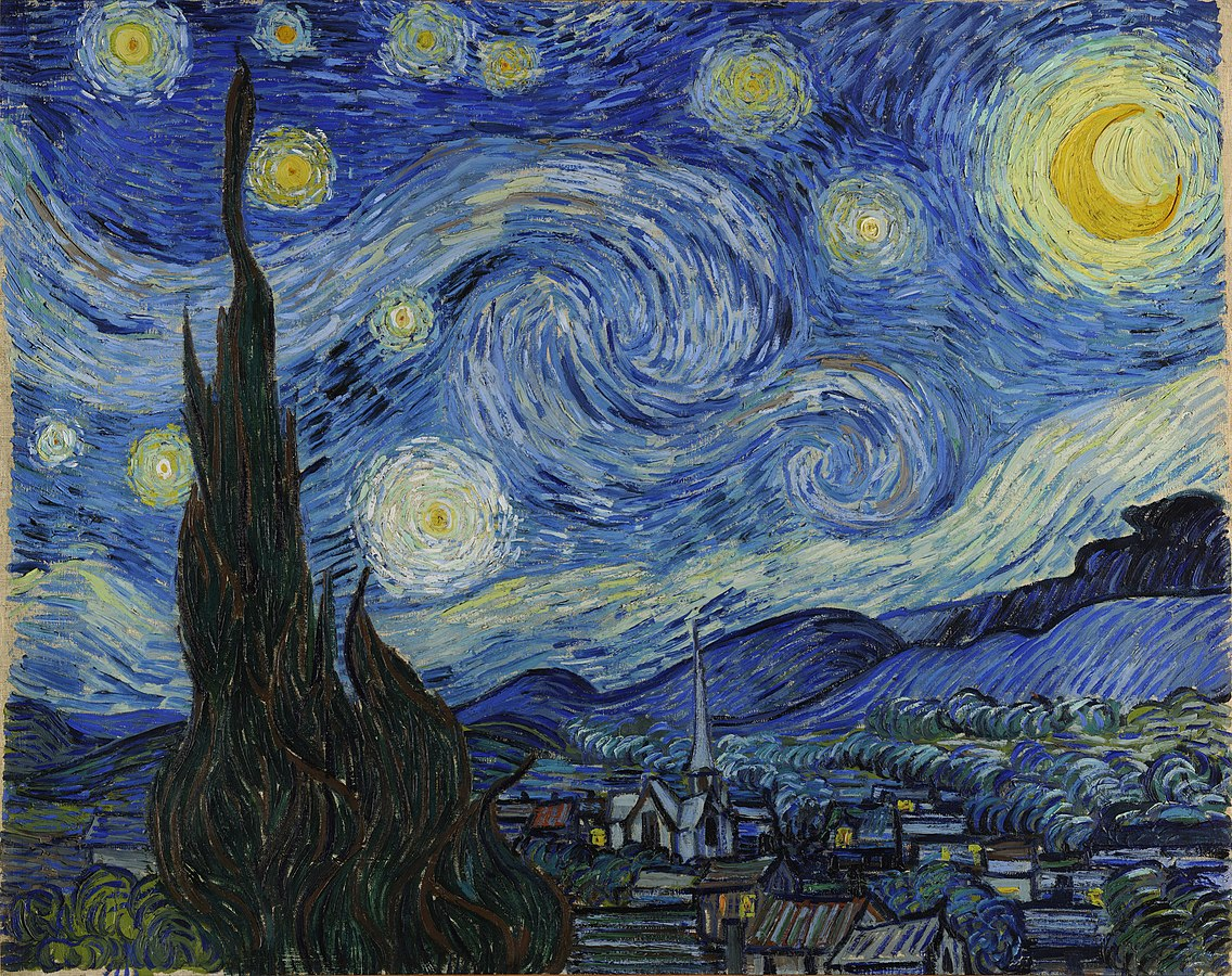Image: Vincent van Gogh Starry Night Painting, a painting of a dark night sky swirling with bright stars over a small town