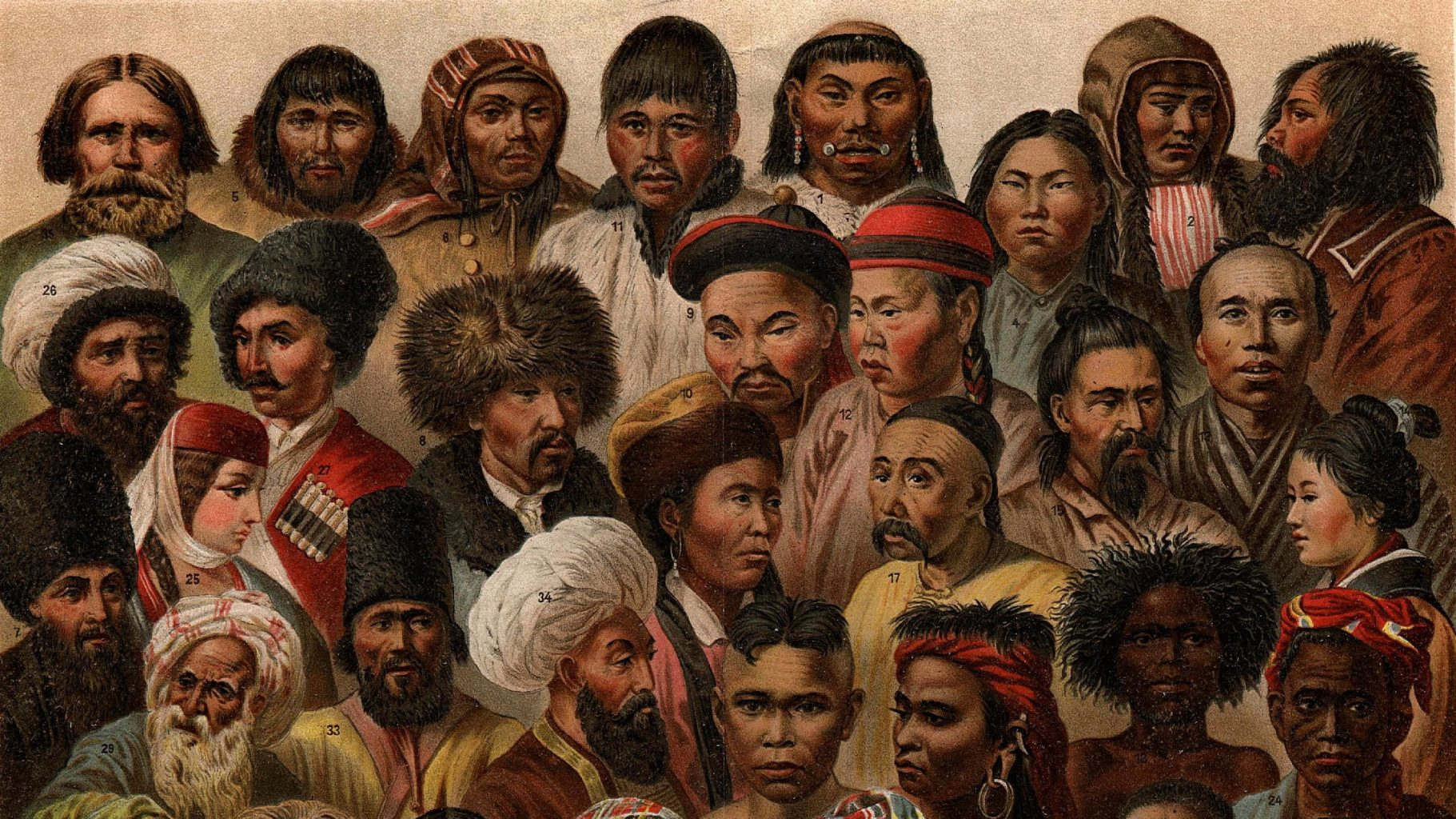 Image: Many people's faces from may ethnicities