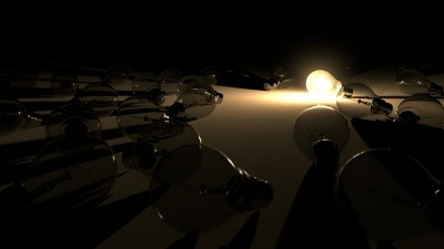 Image: dead lightbulbs surround a single illuminated bulb