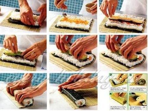 как закрутить суши в домашних