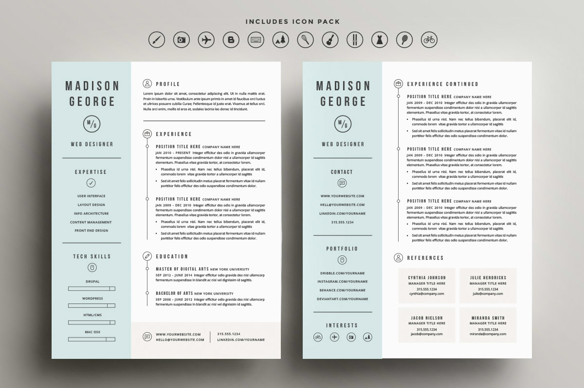 Resume Template 2 Column Roundup 5 Clean And Creative Resume Templates Every Tuesday