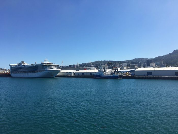 wellington harbour cruise ship 700x525 - Nelson to Wellington, New Zealand by bus and ferry via Picton