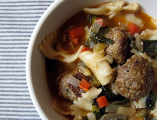 meatball, greens & pasta soup