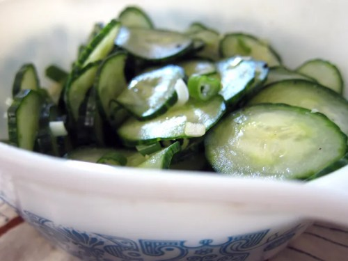 sweet and sour cucumber salad with green onions