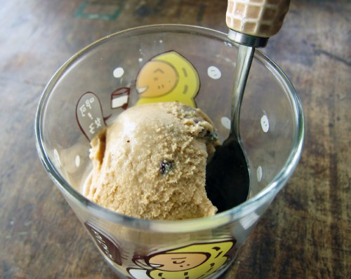 super simple coffee ice cream with cocoa nibs