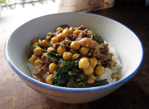 cumin-kissed chickpeas with sausage & kale | everybody likes sandwiches