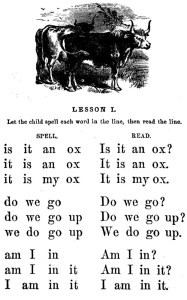 Alphabet chart from the first McGuffey Reader.
