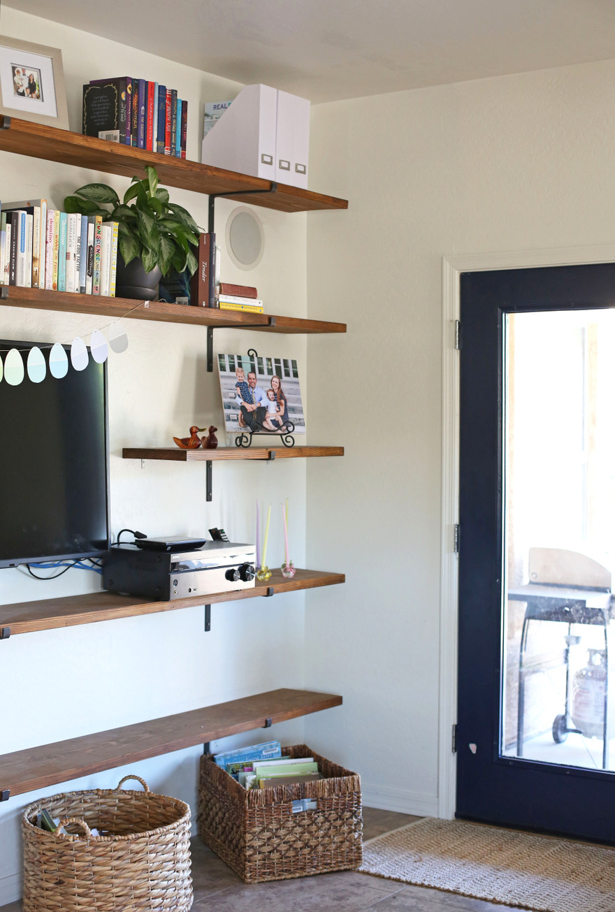 diy shelves in living room blue and brown ideas house project family everyday reading shelving