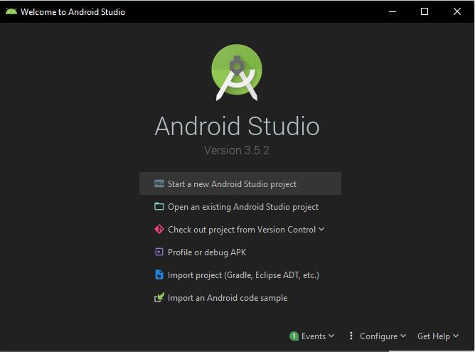 screenshot of android studio welcome screen