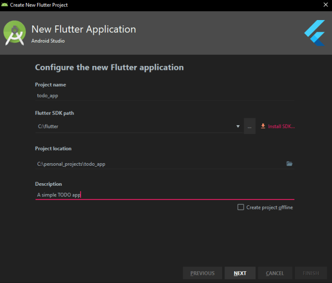 screenshot of android studio asking for details of the project