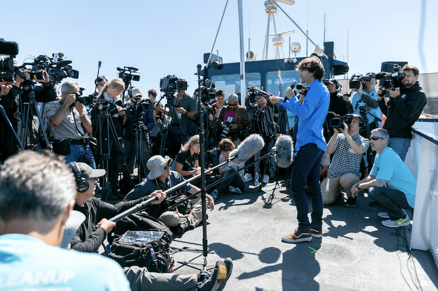 The world's first ocean cleanup system launched from San Fransisco