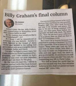 Billy Graham's last newspaper column