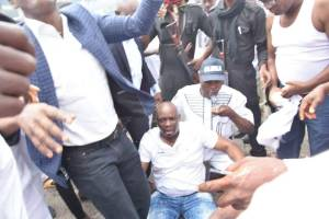 Trouble in Ekiti as Governor is tear-gassed in his office, slumps (Photos attached))