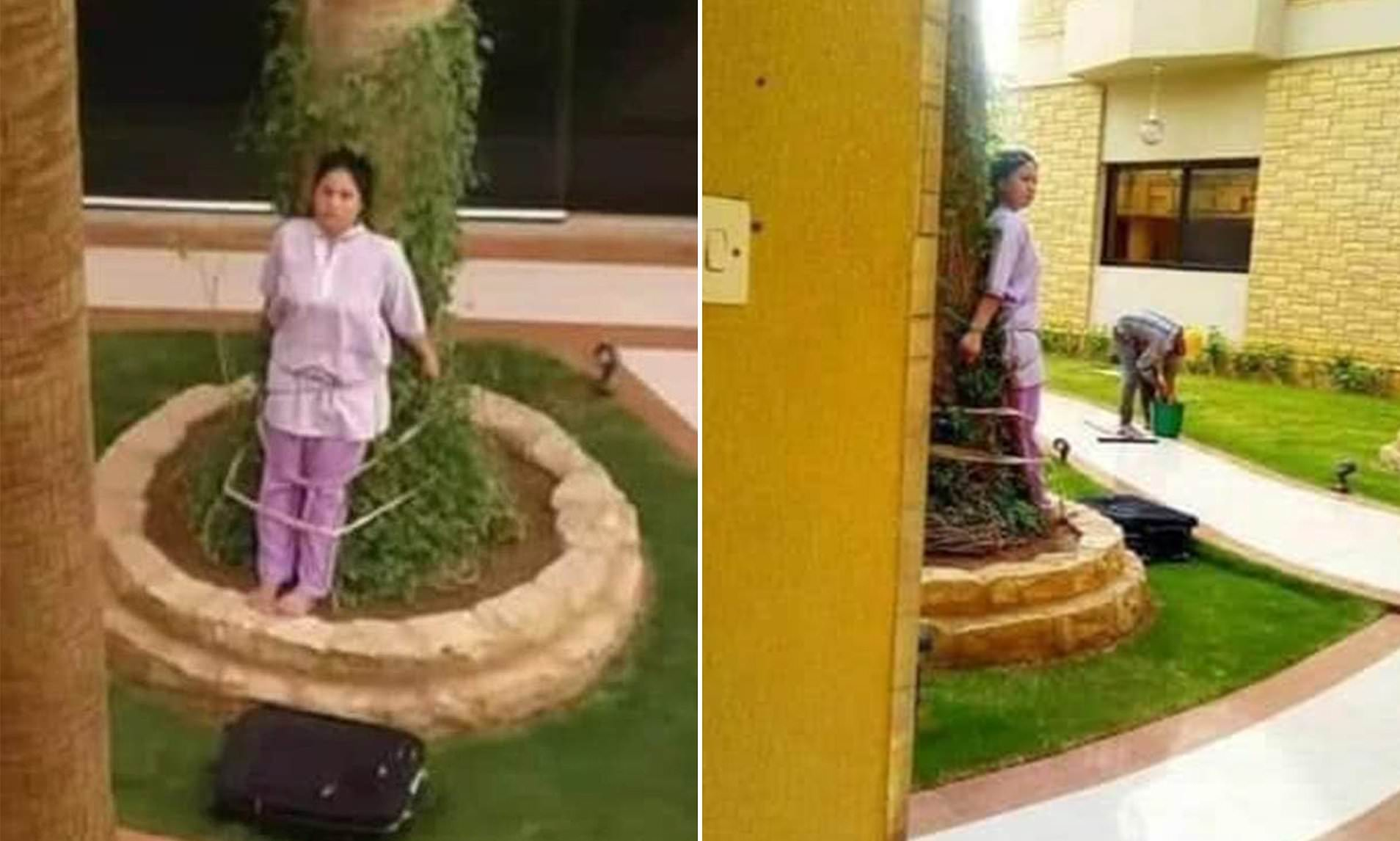 Filipino maid is 'tied to a tree by her wealthy Saudi Arabian employers as punishment for leaving furniture outside in the sun'