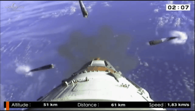 Korolev cross during side booster stage separation on a Soyuz launch