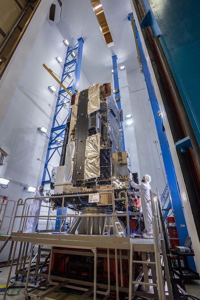 blue metal bars electronics satellite JCSAT-17 satellite people scientist