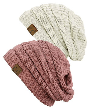 2 Pack Pink and White Beanie