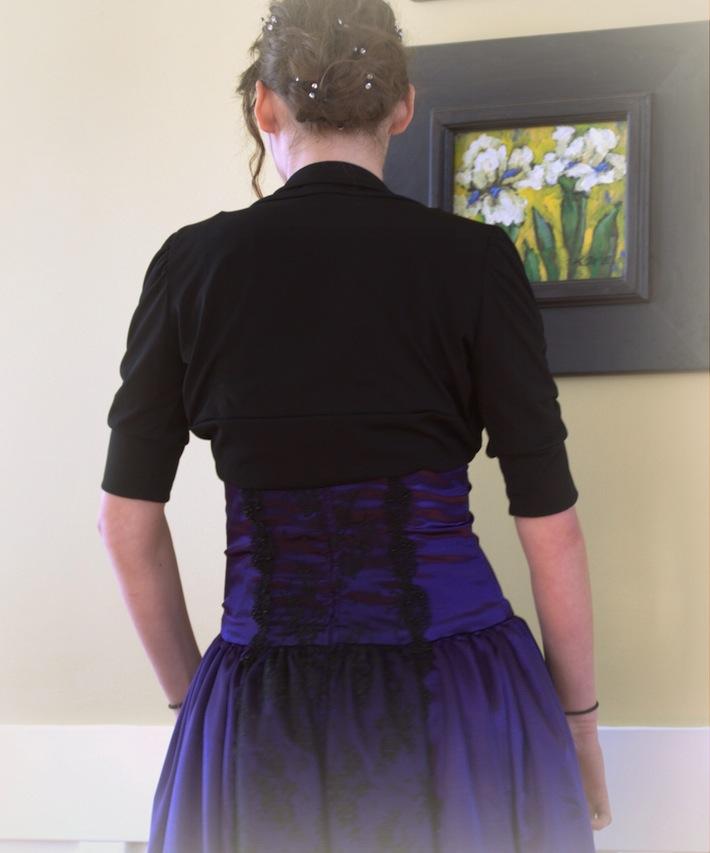 J's prom dress, back view