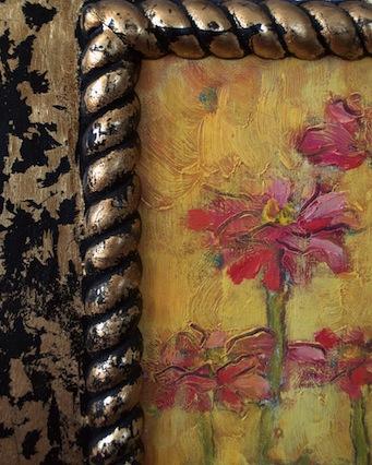 zinnias painting detail