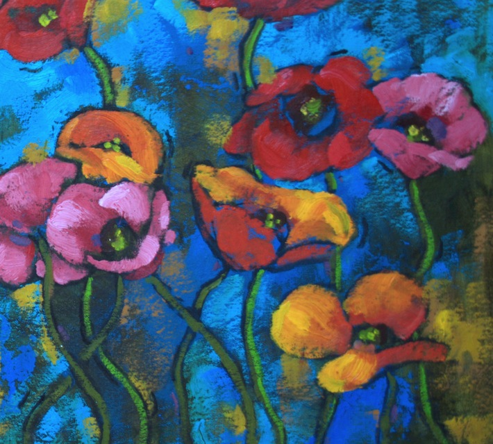 oil on muslin canvas, poppy painting