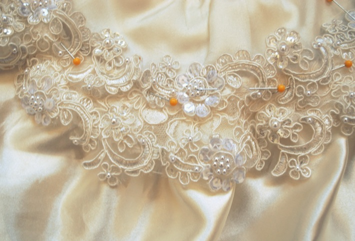 Edwardian wedding dress detail
