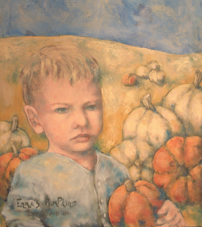 boy with pumpkin oil painting