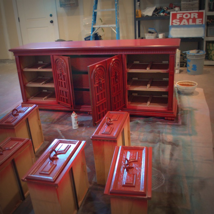 dresser, painted red