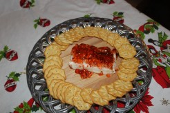 Crawfish pepper jelly and cream cheese