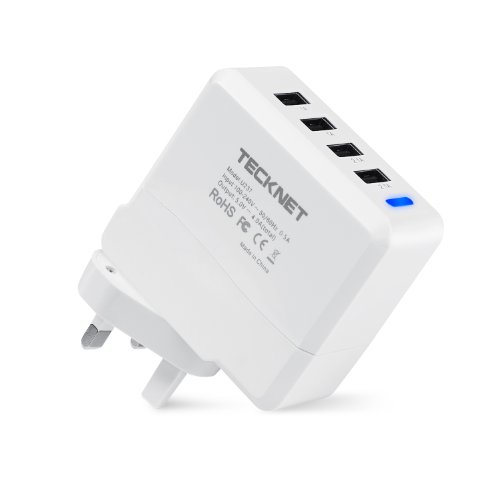 TeckNet Universal 21W 5V 4.2A 4 USB Port UK Wall Plug