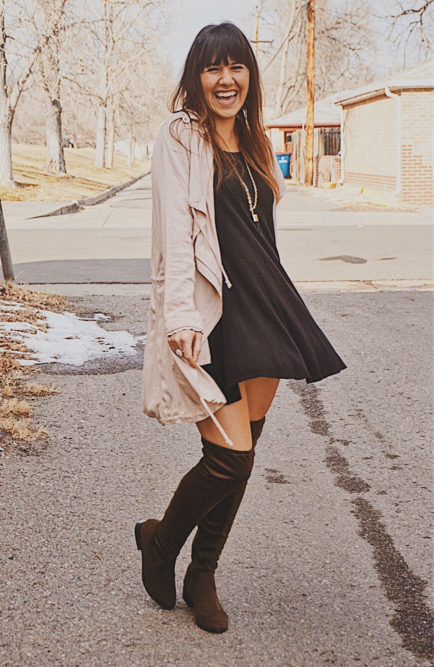 Over The Knee Boots | Suede Over The Knee Boots | Must Need Winter Boots | Suede OTK Boots | T-shirt Swing Dress