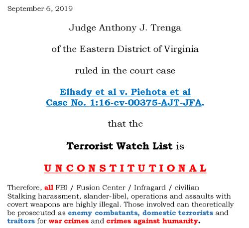 Partial Screenshot of Judge Trenga ruling 2019 Flyer Created by NSA Whistleblower Karen Melton-Stewart