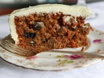 A piece of Carrot Cake on a flowered plate