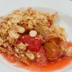 Strawberry and Rhubarb Crumble in a dish.