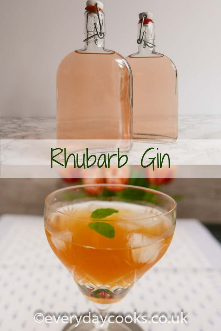 A half-litre bottle of rhubarb gin with a hand-written label and a glass of rhubarb gin cocktail