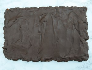 Polish cake in the tin with a chocolate covering.