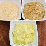Homemade Mayonnaise with prawn cocktail sauce and curry mayonnaise