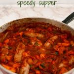 Sausage and apple casserole in a large shallow pan