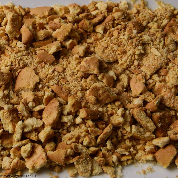 Crushed biscuits to be used for Chocolate Tiffin