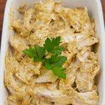 Coronation Chicken in a gratin dish