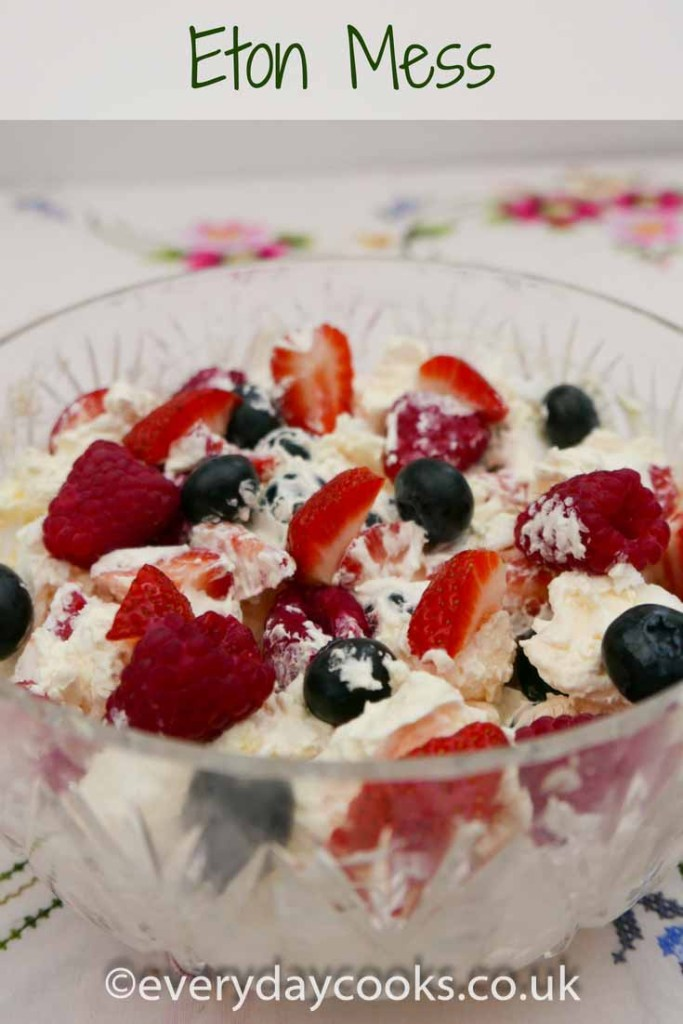 A glass bowl of Eton Mess