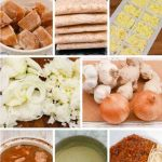 Frozen stock cubes, rice, ginger and garlic, onions and batches of chicken casserole, cheese sauce and bolognese sauce
