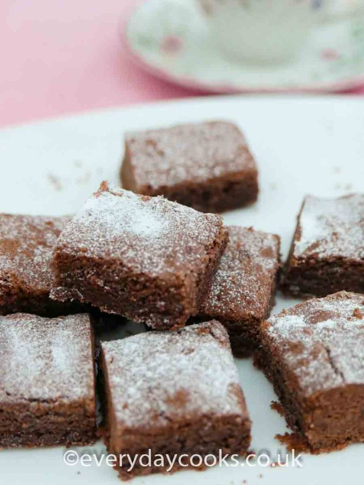 Squares of Chocolate Shortbread on a white plate